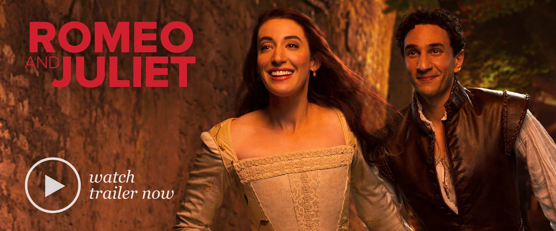 Publicity image from Romeo and Juliet linking to a teaser trailer