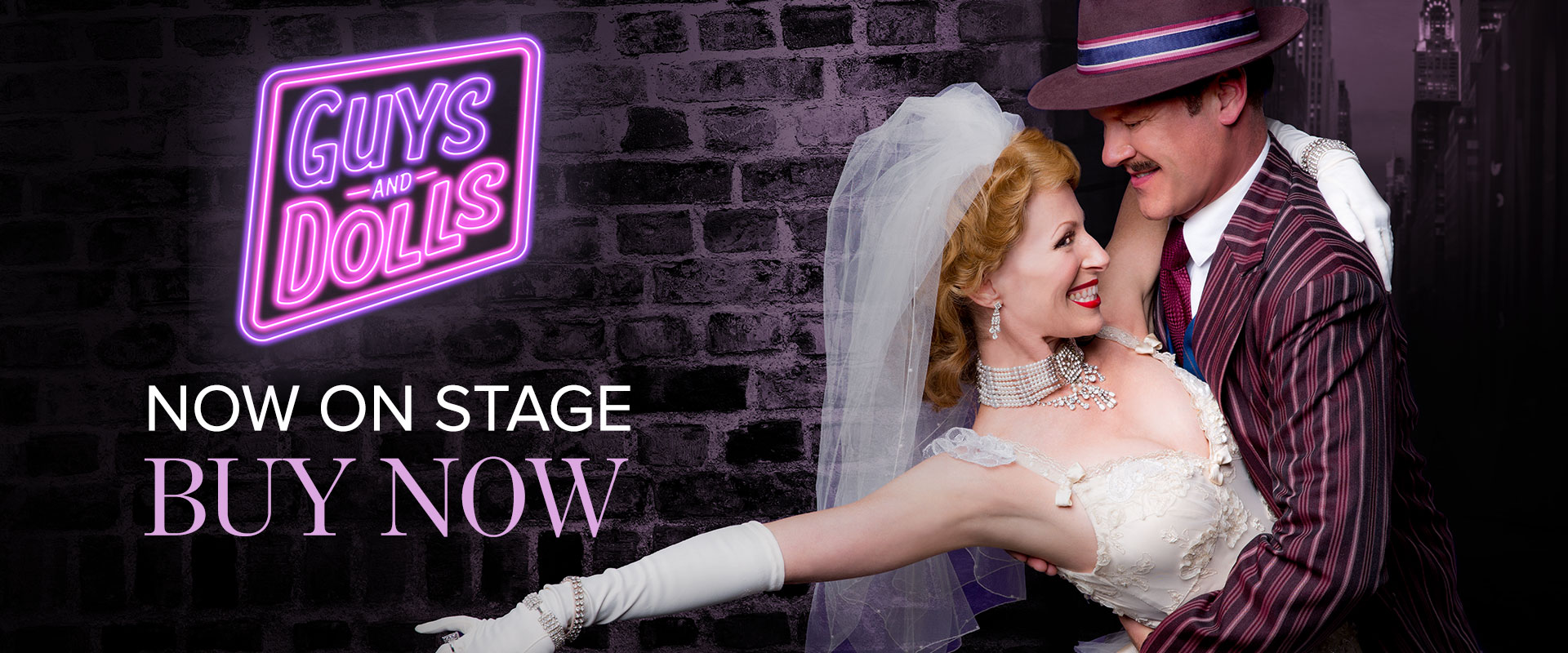 Publicity image from Guys and Dolls linking to production page