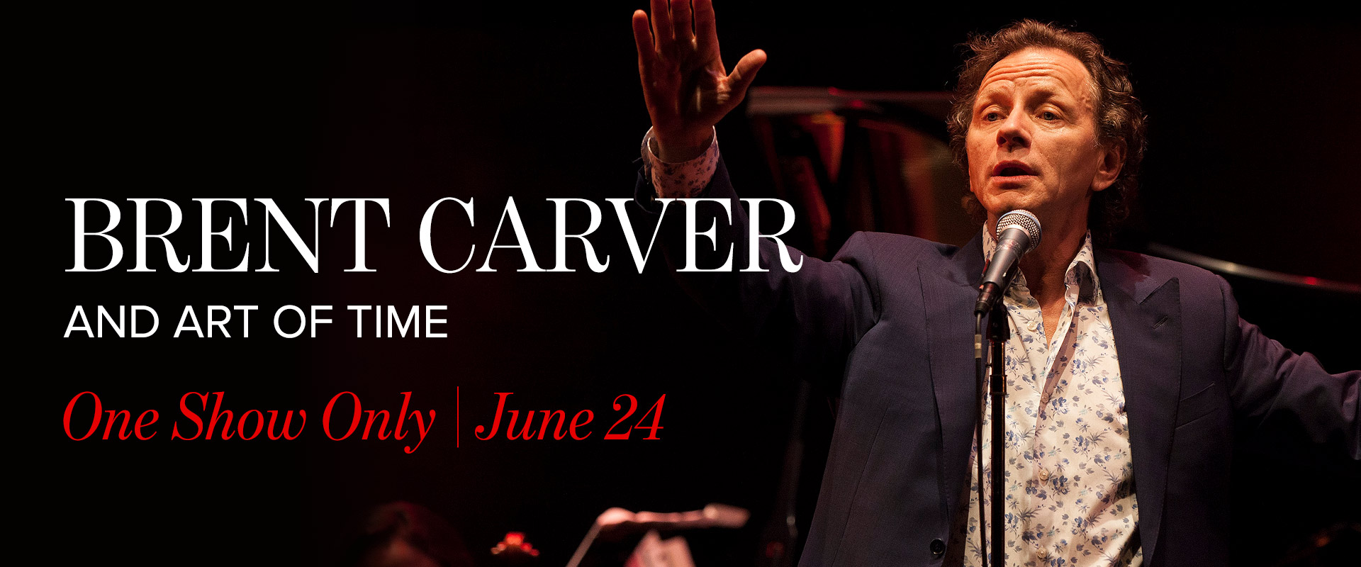 Publicity image featuring brent carver linking to his concert event page