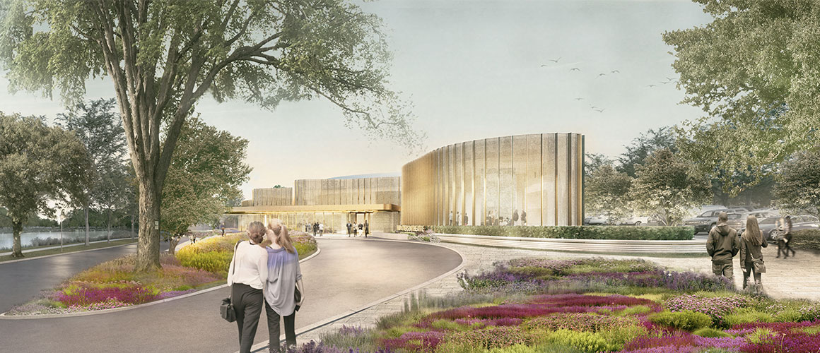 A rendering of the exterior of the new Tom Patterson Theatre.