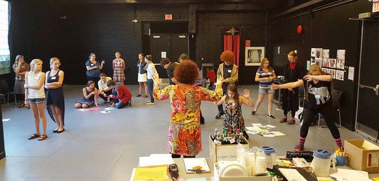 Photo of a pre-show workshop tableaux timeline activity.