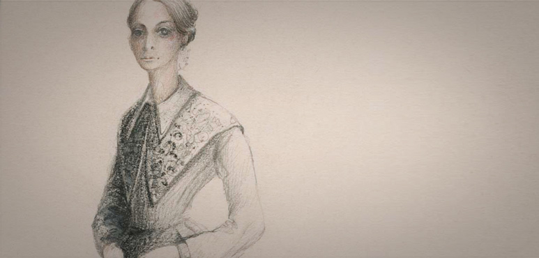 Design Sketch of Goneril (last dress), Miss Martha Henry in King Lear (1980).