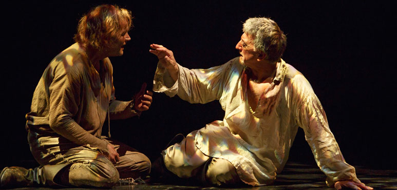 Evan Buliung (left) as Edgar and Scott Wentworth as Gloucester in King Lear. Photo by David Hou.