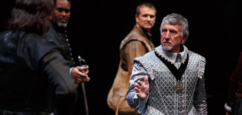 From left: Mike Shara as Cornwall, Xuan Fraser as Curan, Jonathan Goad as Kent and Scott Wentworth as Gloucester in King Lear. Photo by David Hou.