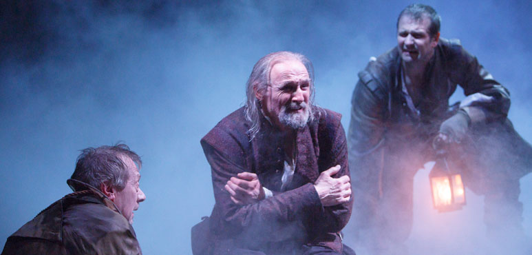 From left: Stephen Ouimette as Fool, Colm Feore as King Lear and Jonathan Goad as Kent in King Lear. Photo by David Hou.