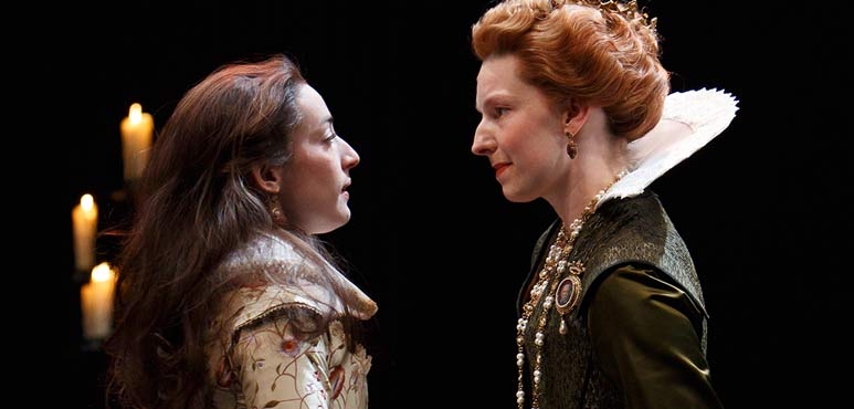 Sara Farb as Cordelia and Maev Beaty as Goneril in King Lear. Photography by David Hou.