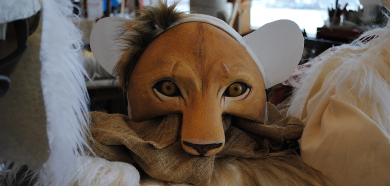 Photo of a leopard headpiece from the props department
