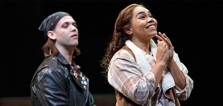 (From left) Jamie Mac as Silvius and Ijeoma Emesowum as Phoebe in As You Like It (2016).