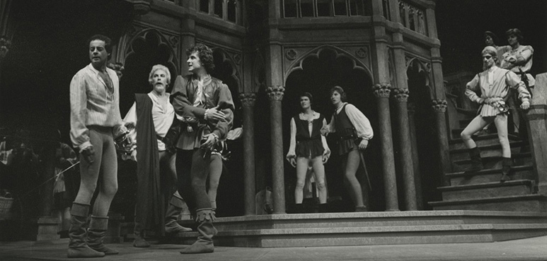 Romeo and Juliet, 1977. Richard Monette as Romeo, Nicholas Pennell as Mercutio, Paul Batten as Tybalt, Richard Hardacre as Balthazar, Gregory Wanless as Benvolio, with members of the company. Photograph by Robert C. Ragsdale.