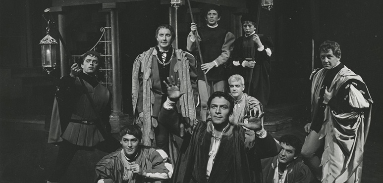 Romeo and Juliet, 1960. Front: Alexis Kanner as Officer, Christopher Plummer as Mercutio, Bruno Gerussi as Romeo, John Horton as Officer. Rear: William Needles as Benvolio, Robin Gammel as Balthasak, with Guy Belanger and James Penistan. Photograph by Peter Smith.