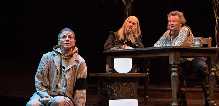 Brent Carver as Feste, Tom Rooney as Sir Andrew Aguecheek, Geraint Wyn Davies as Sir Toby Belch in Twelfth Night.