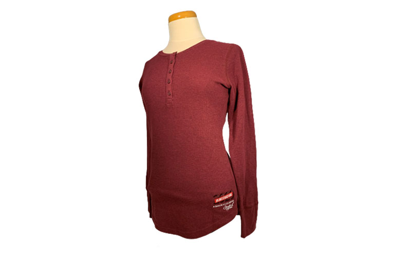 LADIES HENLEY - CRIMSON