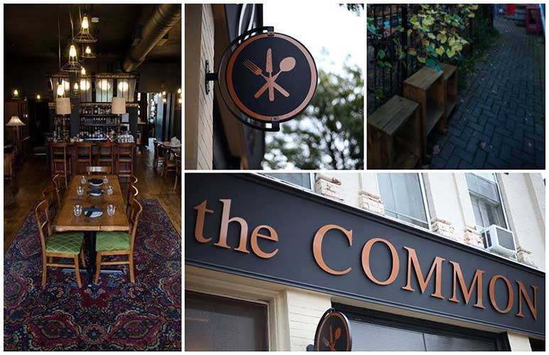 Interior and exterior images of the Common Restaurant