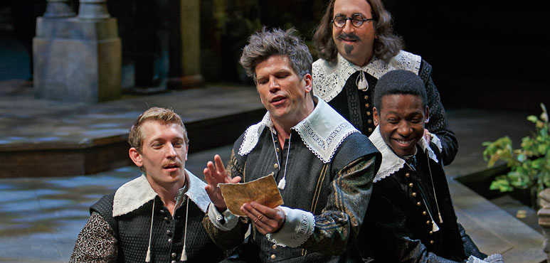 From left: Andrew Robinson as Longaville, Mike Shara as Berowne, Sanjay Talwar as King Ferdinand of Navarre and Thomas Olajide as Dumaine in Love's Labour's Lost. Photography by David Hou.