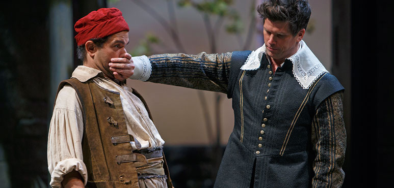 Josue Laboucane as Costard and Mike Shara as Berowne in Love's Labour's Lost. Photography by David Hou.