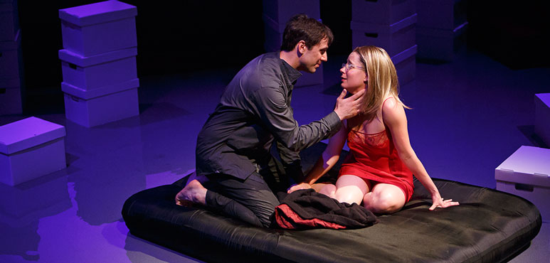 Cyrus Lane as George and Krystin Pellerin as Joyce in Possible Worlds. Photography by David Hou.