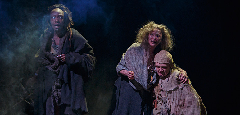 Lanise Antoine Shelley as Third Witch, Brigit Wilson as First Witch and Deidre Gillard-Rowlings as Second Witch. Photography by David Hou.