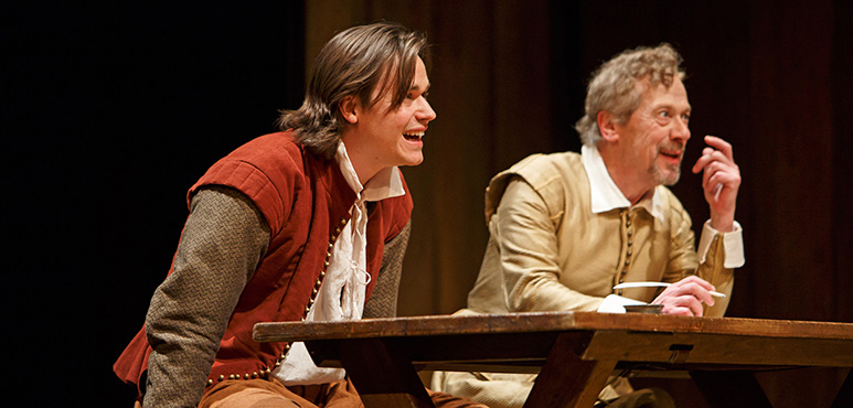 Luke Humphrey (left) as Will Shakespeare and Stephen Ouimette as Henslowe. Photography by David Hou.
