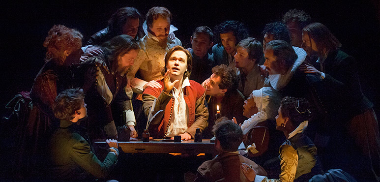 Luke Humphrey (centre) as Will Shakespeare with members of the company. Photography by David Hou.