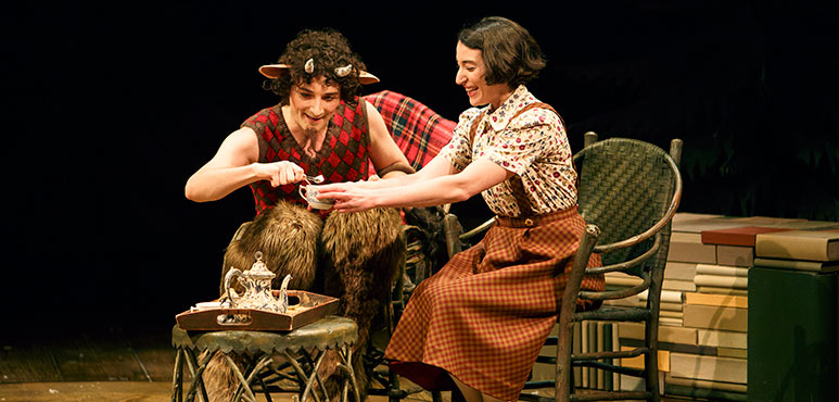 Mike Nadajewski (left) as Mr. Tumnus and Sara Farb as Lucy. Photography by David Hou.