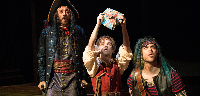 From left: Juan Chioran as Long John Silver, Thomas Mitchell Barnet as Jim Hawkins and Jamie Mac as Allardyce. Photography by Cylla von Tiedemann.