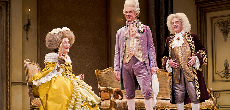 From left: Brigit Wilson as Mrs. Candour, Tom Rooney as Sir Benjamin Backbite and Rod Beattie as Crabtree. Photography by Cylla von Tiedemann.