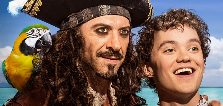 Juan Chioran as Long John Silver and Thomas Mitchell Barnet as Jim Hawkins. Photo by Lynda Churilla