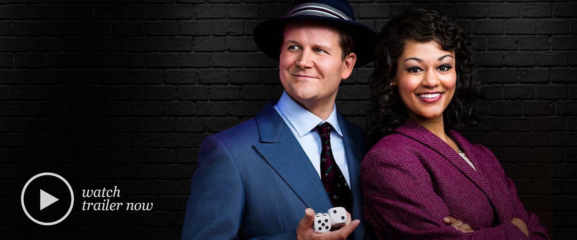 Publicity image from Guys & Dolls featuring Evan Buliung and Alexis Gordon