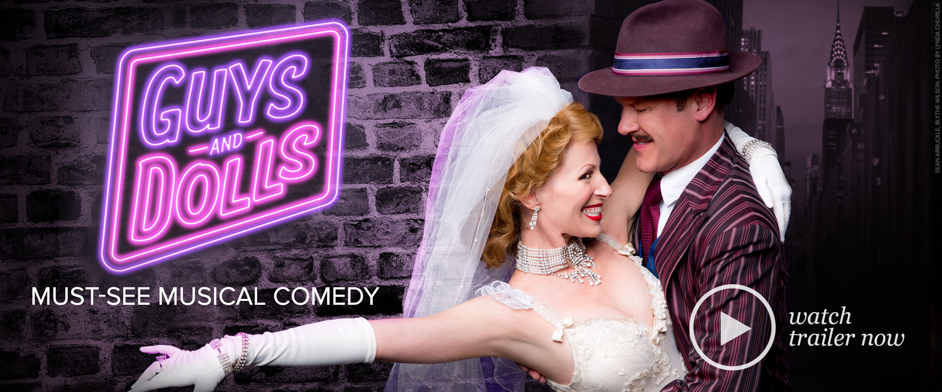 Publicity image from Guys & Dolls featuring Sean Arbuckle and Blythe Wilson