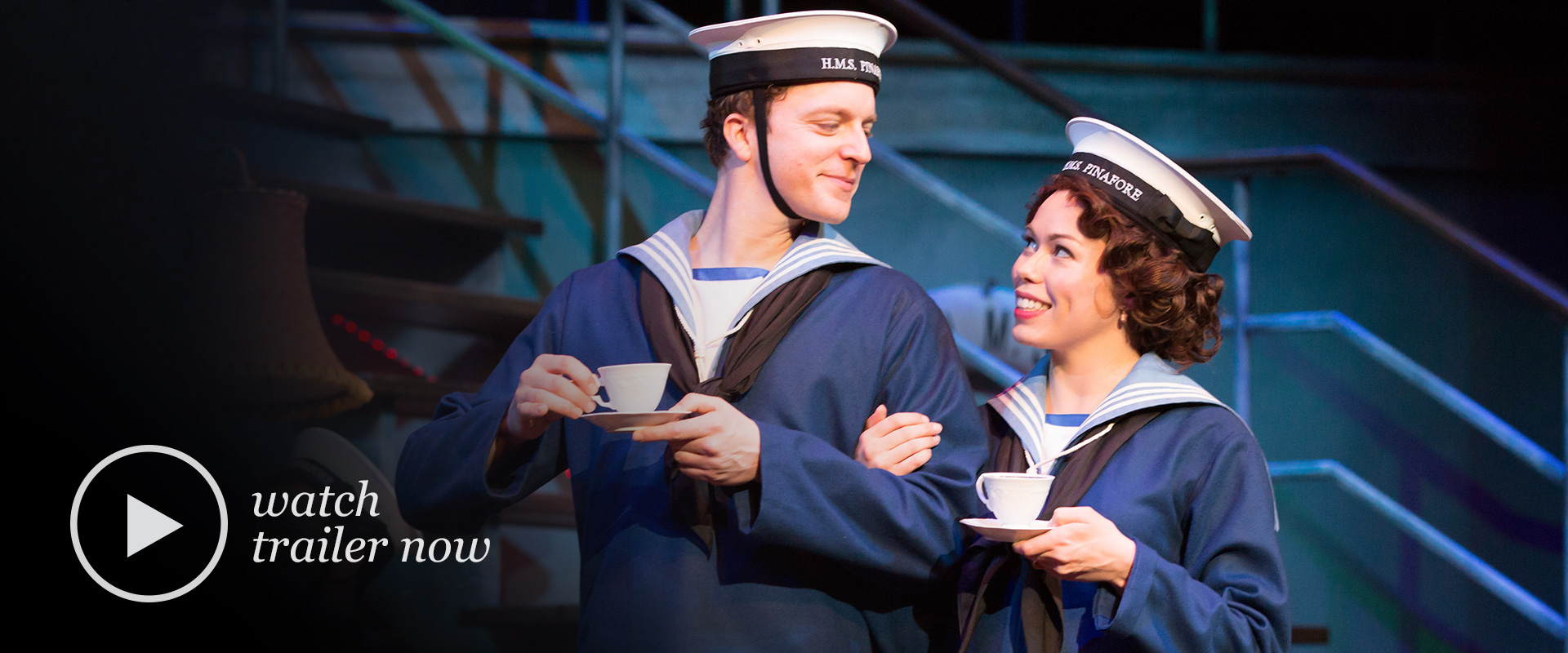 production image from HMS Pinafore featuring Jennifer Rider-Shaw and Mark Uhre