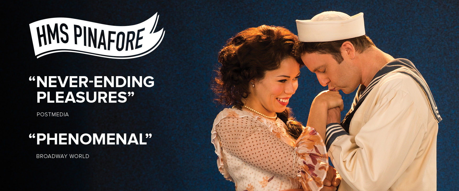 Publicity image from HMS Pinafore featuring Jennifer Rider-Shaw and Mark Uhre