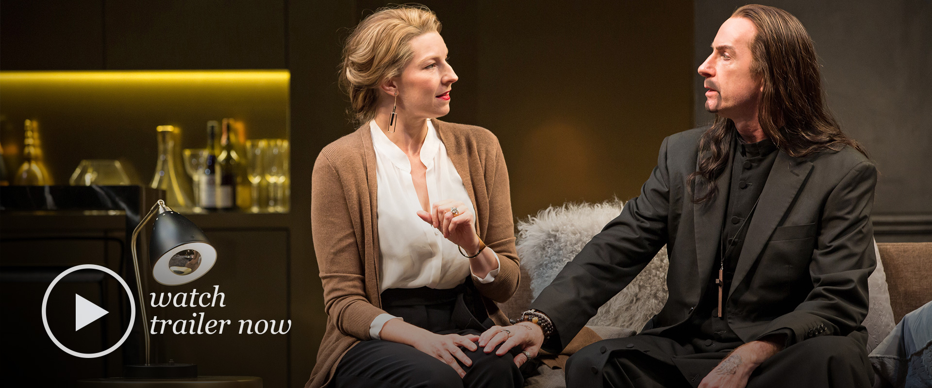 Production image from Tartuffe featuring Tom Rooney and Maeve Beaty