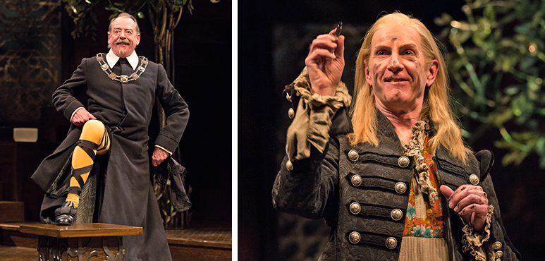 Rod Beattie as Malvolio and Tom Rooney as Sir Andrew Aguecheek. Photography by Cylla von Tiedemann.