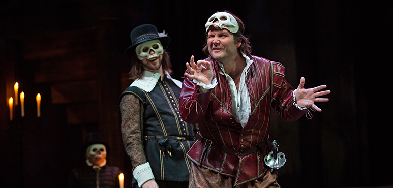 Jamie Mac (left) as Benvolio and Evan Buliung as Mercutio. Photography by Cylla von Tiedemann.