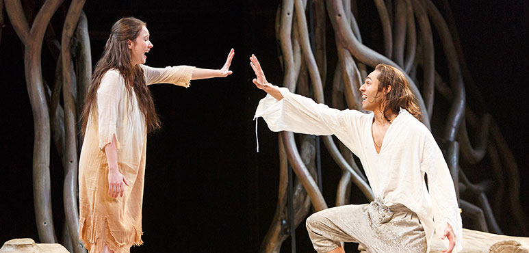 Mamie Zwettler as Miranda and Sébastien Heins as Ferdinand in The Tempest. Photography by David Hou.