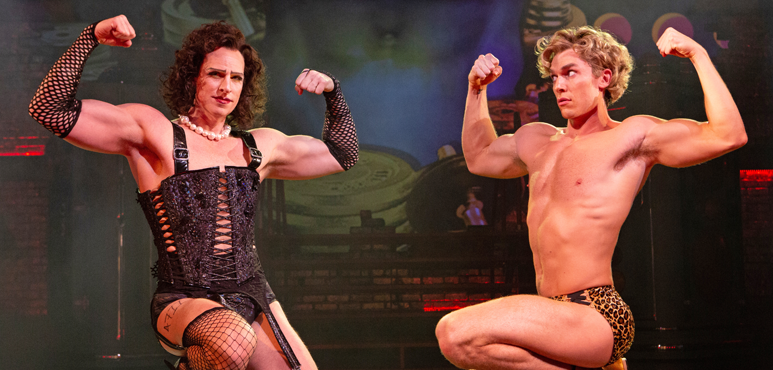 Dan Chamerory (left) as Frank N. Furter and George Krissa as Rocky. Photography by Cylla von Tiedemann.