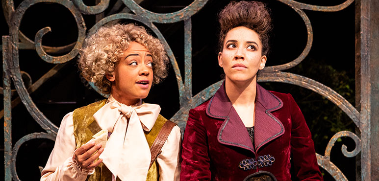 Beryl Bain (left) as Dromio of Syracuse and Jessica B. Hill as Antipholus of Syracuse. Photography by Cylla von Tiedemann.