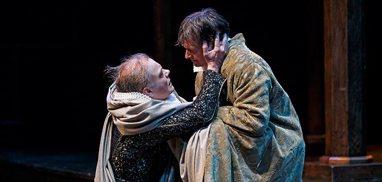 John Kirkpatrick (left) as Caius Ligarius and Jonathan Goad as Marcus Brutus. Photography by David Hou.