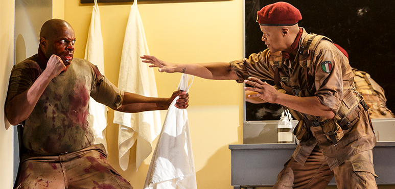 André Sills (left) as Coriolanus and Michael Blake as Cominius. Photography by David Hou.