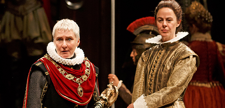 Seana McKenna (left) as Julius Caesar and Michelle Giroux as Mark Antony with members of the company. Photography by David Hou.