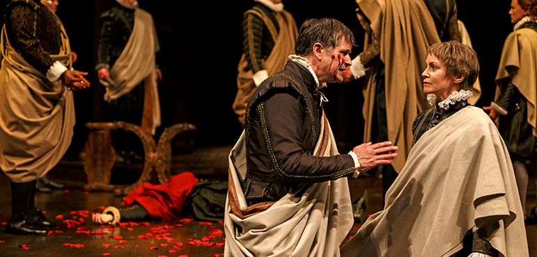 Jonathan Goad as Marcus Brutus and Irene Poole as Cassius with members of the company in Julius Caesar. Photography by David Hou.