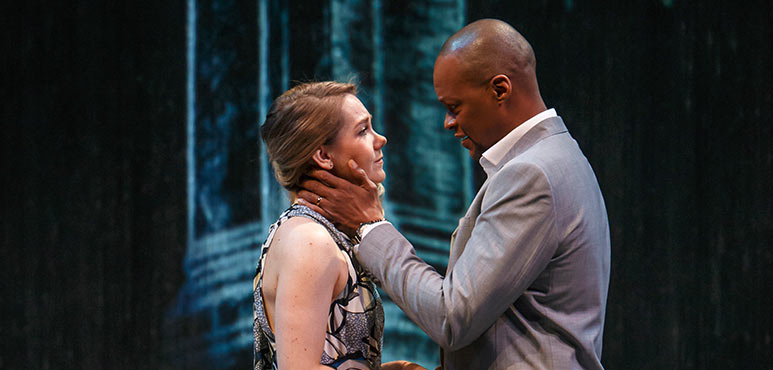 Amelia Sargisson as Desdemona and Michael Blake as Othello in Othello. Photography by David Hou.