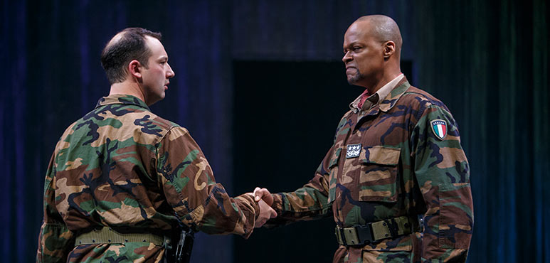 Gordon S. Miller (left) as Iago and Michael Blake as Othello in Othello. Photography by David Hou.