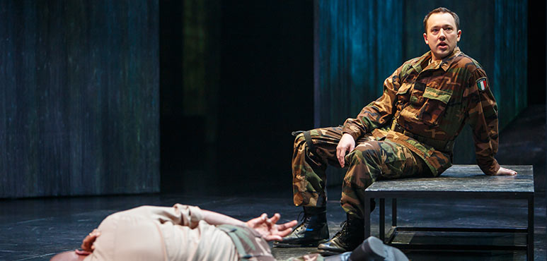 Michael Blake (left) as Othello and Gordon S. Miller as Iago in Othello. Photography by David Hou.