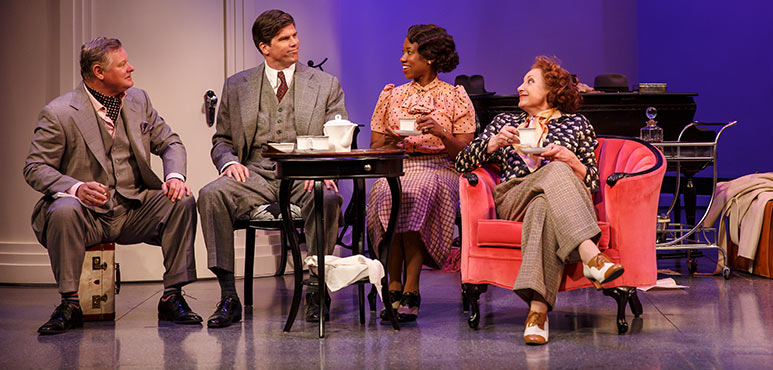 From left: Geraint Wyn Davies as Elyot Chase, Mike Shara as Victor Prynne, Sophia Walker as Sibyl Chase and Lucy Peacock as Amanda Prynne in Private Lives. Photography by David Hou.