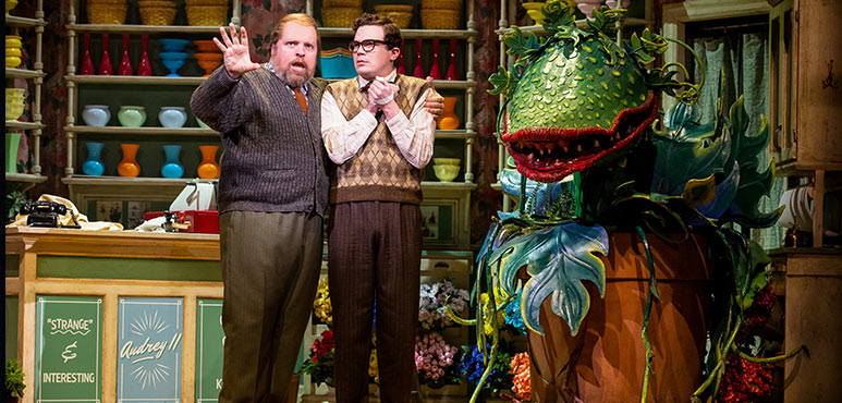 Steve Ross (left) as Mr. Mushnik and André Morin in Little Shop of Horrors. Photography by Cylla von Tiedemann.
