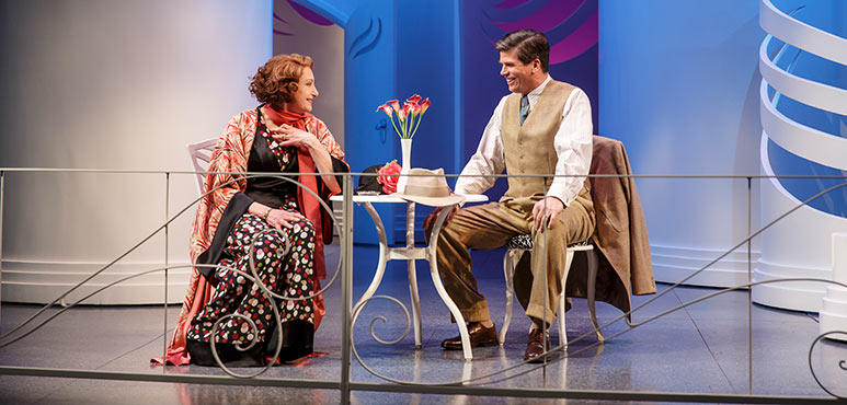 Lucy Peacock as Amanda Prynne and Mike Shara as Victor Prynne in Private Lives. Photography by David Hou.