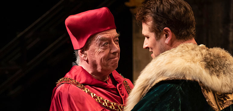 Rod Beattie (left) as Cardinal Wolsey and Jonathan Goad as King Henry VIII in Henry VIII. Photography by Emily Cooper.