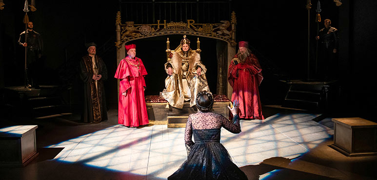 From left: Rod Beattie as Cardinal Wolsey, Jonathan Goad as King Henry VIII, Irene Poole as Queen Katherine and Ron Kennell as Cardinal Cardinal Campeius with members of the company in Henry VIII. Photography by Emily Cooper.