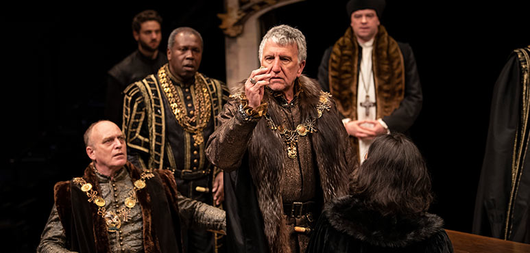 Scott Wentworth (centre) as Duke of Norfolk with members of the company in Henry VIII. Photography by Emily Cooper.